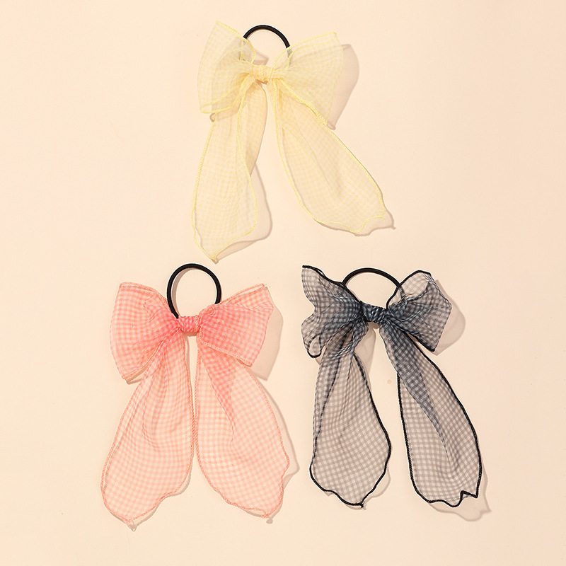 Korean net yarn grid star bow ribbon hair ring girls sweet color ponytail hair accessories wholesale NHAU240821