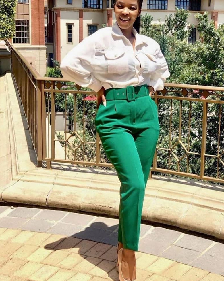 High Waist Ol Slim Casual Trousers Slim Fit Women'S Trousers With Belt