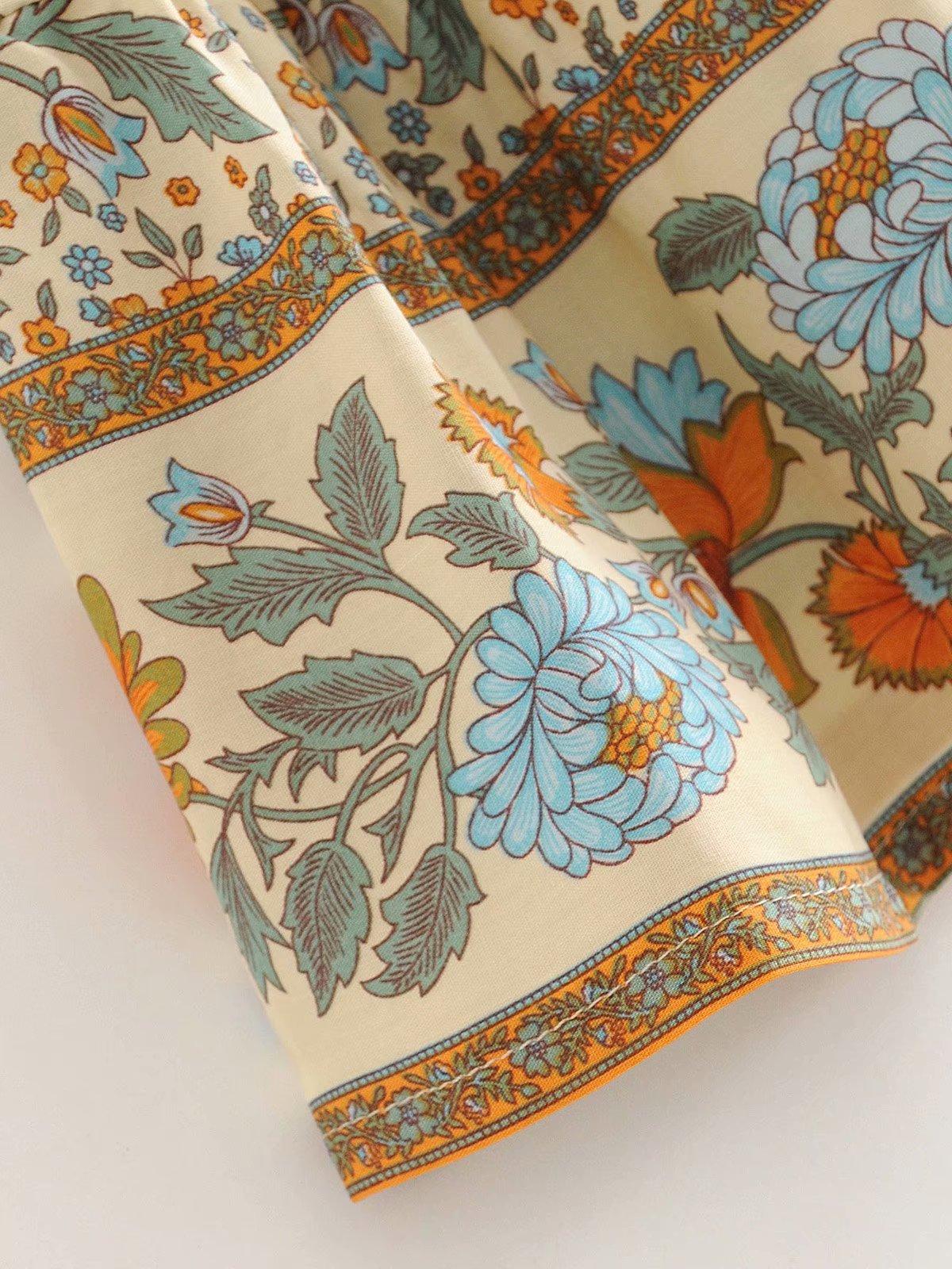 Wholesale Spring New Fashion Sunflower Print Elastic Waist Cotton Shorts NHAM204847