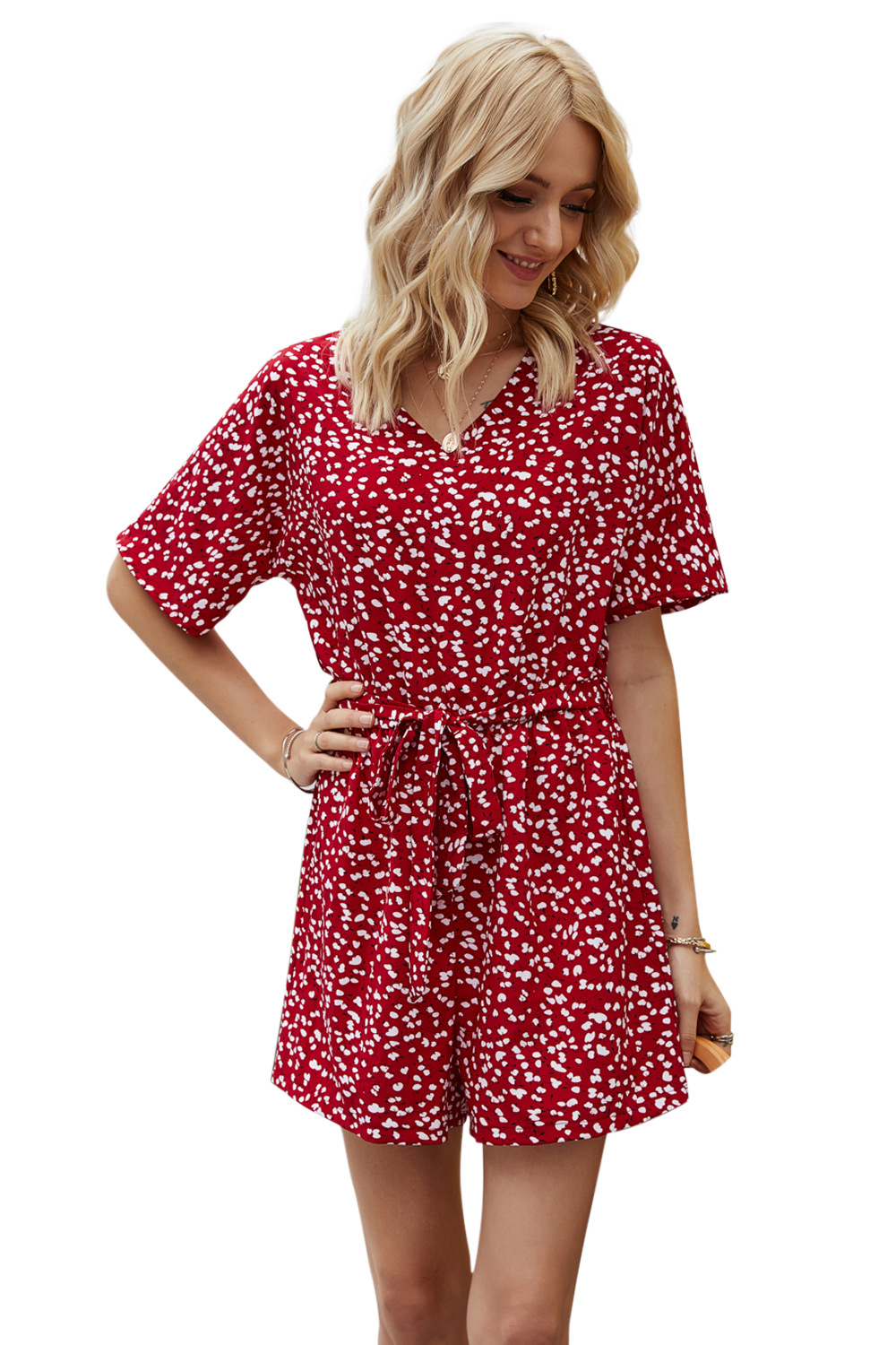 summer new fashion casual high waist belt red loose floral jumpsuit wholesale NSDF400