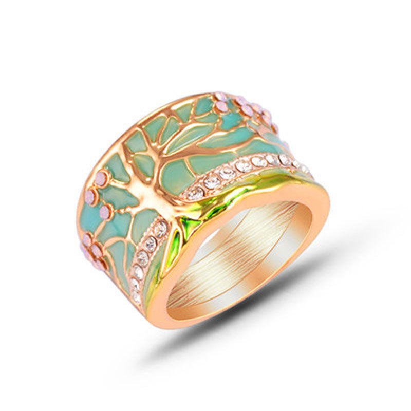 Painting oil ring new hand-painted hand-glued life tree ring wholesale NHKQ194205