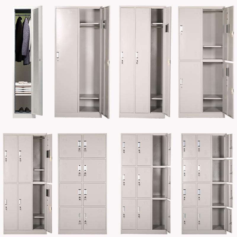 更衣柜員工柜健身房儲物柜帶鎖鐵皮柜鞋柜存包柜浴室換衣柜可拆裝