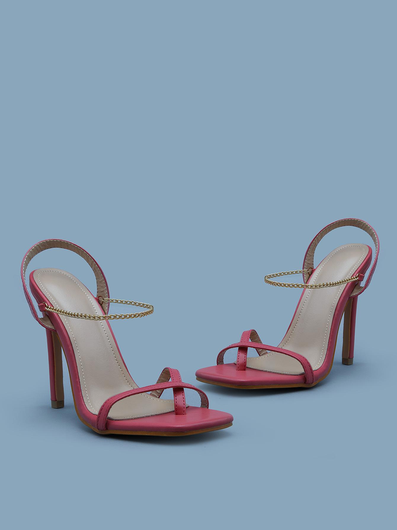 new fashion chain set toe square toe stiletto high heel sandals  NHCA244273