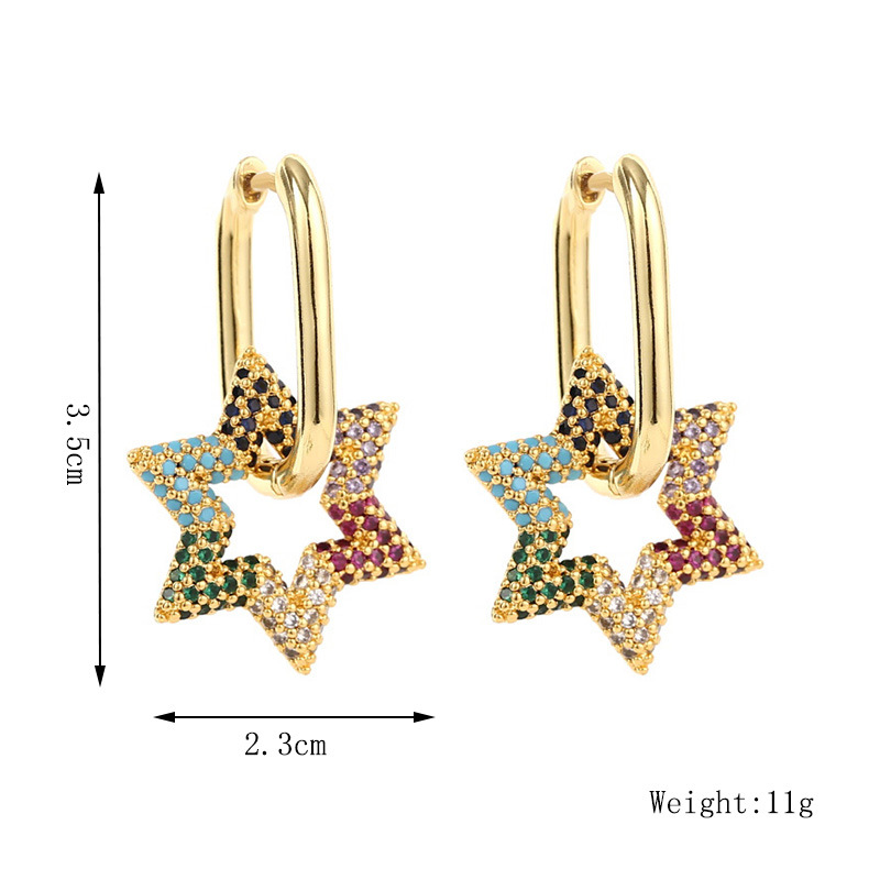 copper inlaid zirconium fashion simple star earrings  NHLA285627