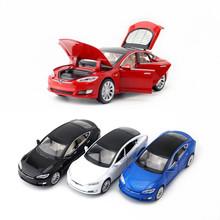 寶思侖1:32特斯拉ModelS合金轎車6開門汽車模型仿真兒童玩具散裝
