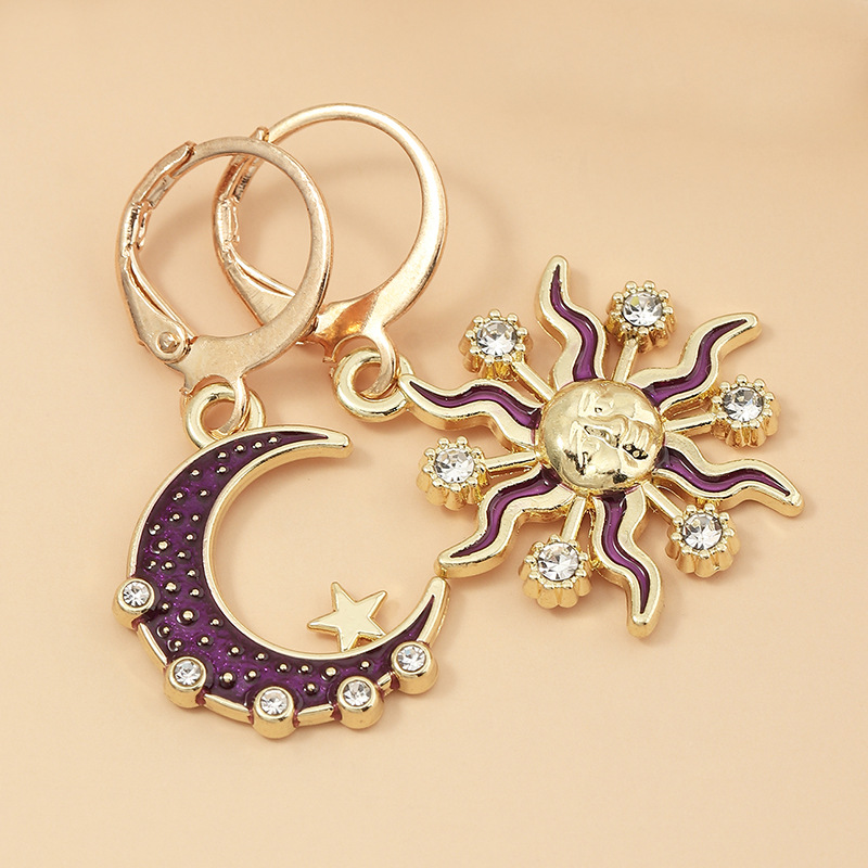 fashion  new retro sun moon  personality diamond earrings  wholesale   NHNZ240231