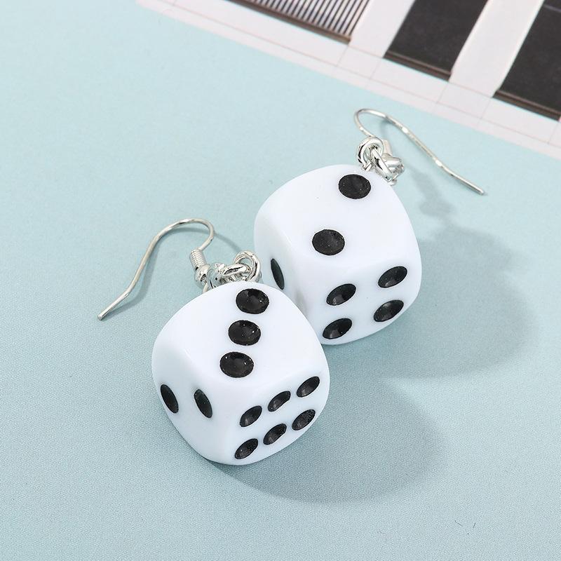 Trendy Funny Fun Dice Earrings Retro Fashion Ear Stud Earrings NHNZ199120