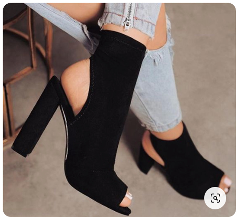 high thick heel suede fish mouth boots sandals NHCA284236