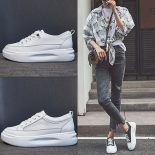 Korean version of 2020 spring and summer new white shoes women's shoes thick-soled inner increase leather net red casual all-match sneakers
