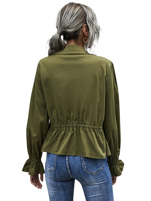 high waist ladies temperament casual army green long-sleeved jacket NSDF2824