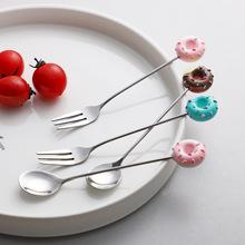 加点乐卡通不锈钢咖啡勺创意儿童小勺子甜点勺水果叉调羹搅拌勺子