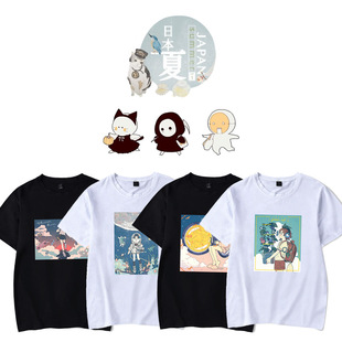 Japanese illustration short-sleeved T-shirt female ins tide women's clothing college style Japanese summer new loose top Korean version of the wild