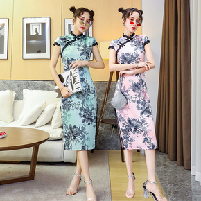 Printed Cheongsam chinese dresses for women mid-length fashion Chinese style dress Slim printed cheongsam