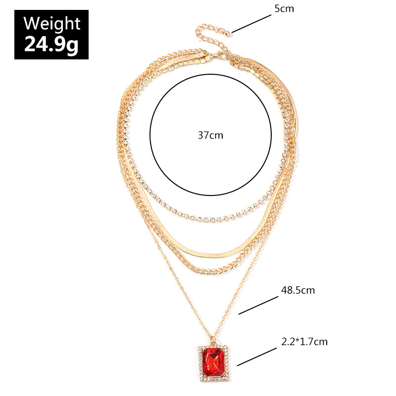Jewelry vintage fashion diamond multi-layered necklace rectangular ruby pendant necklace NHNZ193272