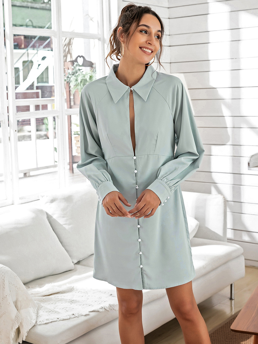 solid color slim shirt dress  NSAL1965