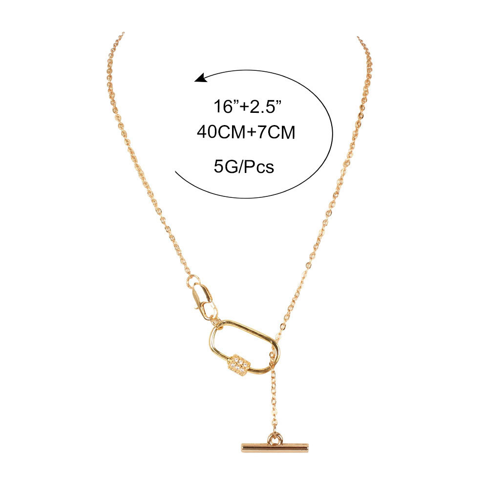 Fashion trend wild clavicle chain diamond oval spiral twisting gold necklace for women NHCT245665
