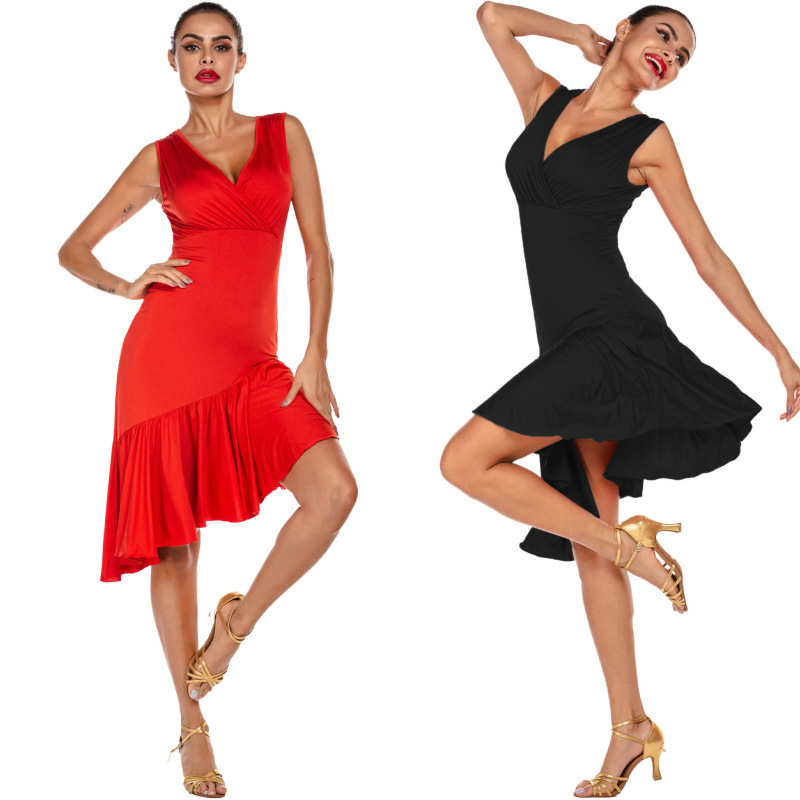 Red v neck latin dance dresses women salsa chacha Dance practice clothes Latin dance clothes