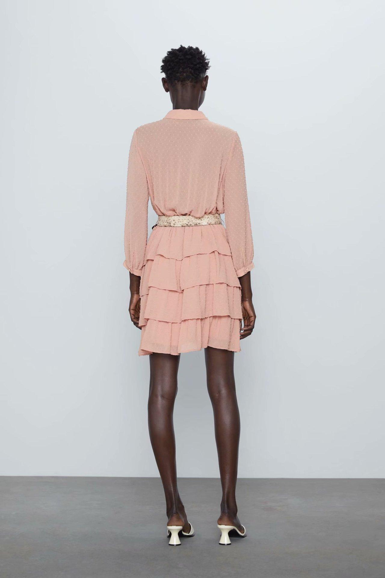 Wholesale spring fashion with belt tulle long sleeve dress NHAM211098