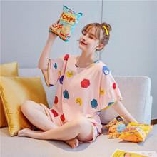 紫娴睡衣2020夏季新款短袖短裤ins网红风棉绸套头梭织棉家居服