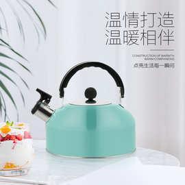 厂家直供不锈钢平底鸣音半球热水壶 3L加厚电磁炉烧水壶彩色水壶