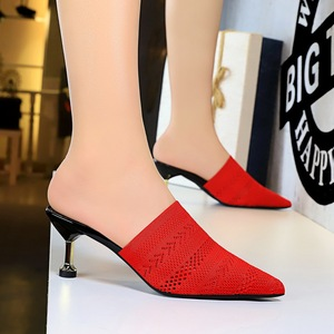 Han edition retro baotou slipper shoes daily 8925-1 the mouth pointed hollow-out sweater in fine with high heels women s