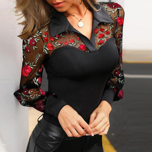2021 spring new ladies sexy V-neck sleeveless floral embroidery long-sleeved shirt top
