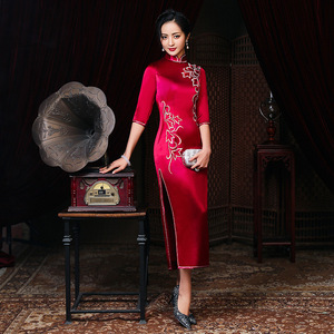 Traditional Chinese Dress Qipao Dresses for Women Wedding dress of mother-in-law