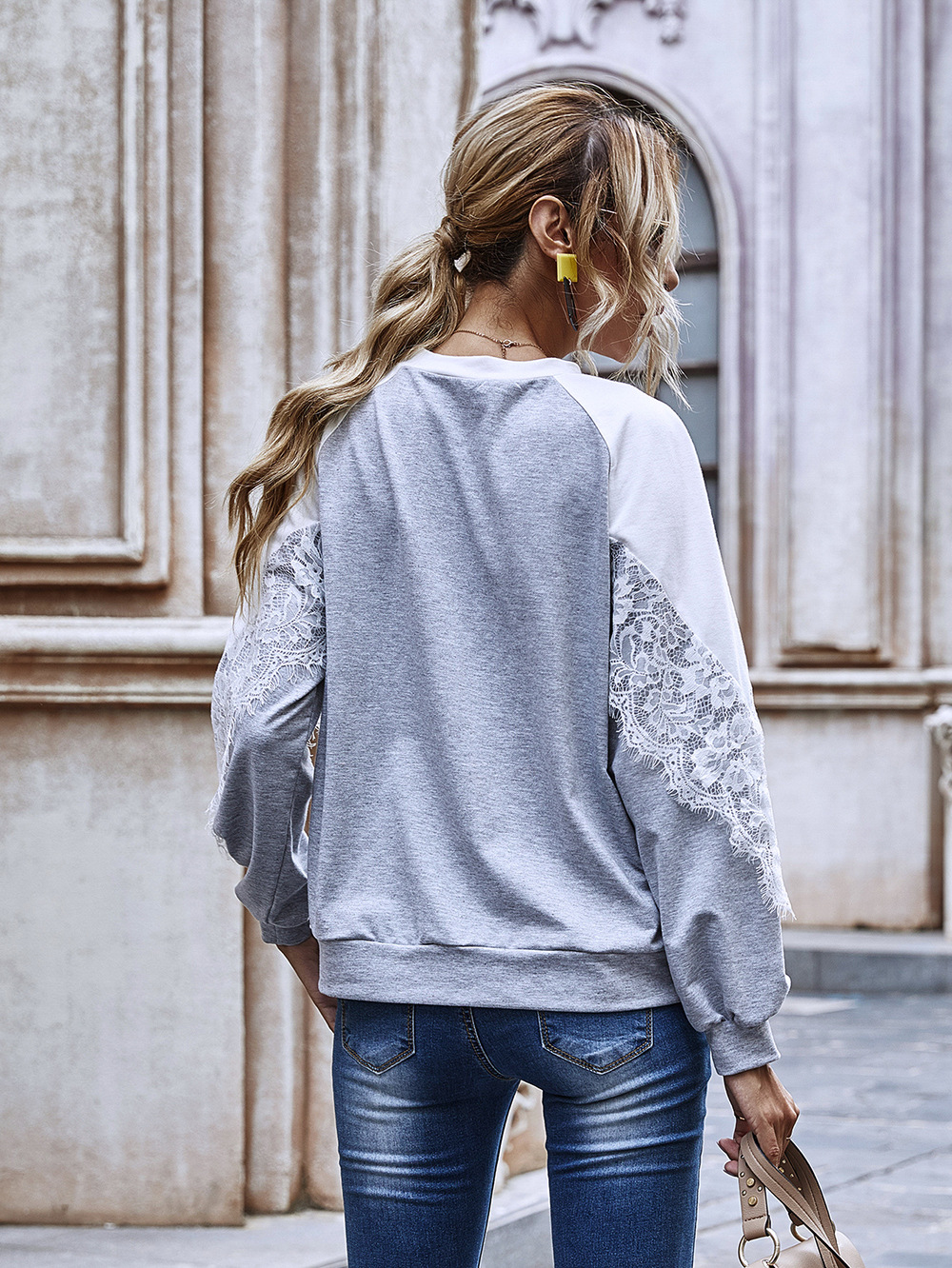 Hot Selling Pure Color Hollow Lace Sweatshirt New Round Neck Top wholesale NHDF23