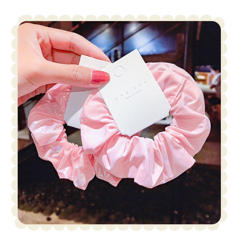 Pink large intestine hair ring cloth art tie hair head rope French lattice hair rope girl rubber band cute hair accessories wholesale nihaojewelry NHNA223585