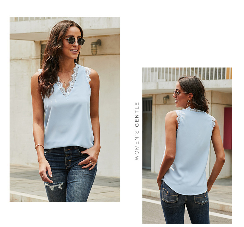 women's summer vest loose casual lace sleeveless top NSSI2542