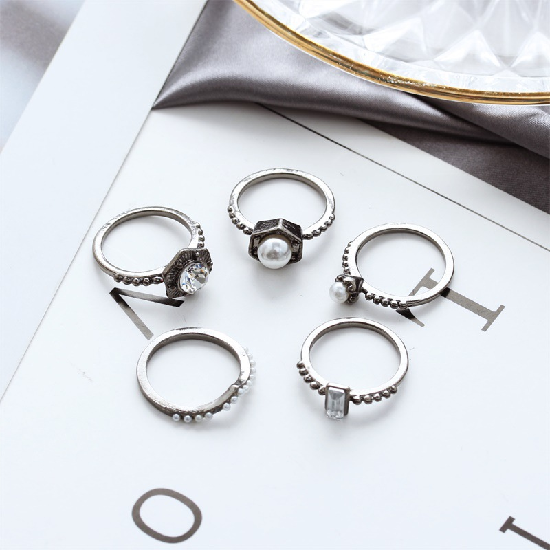 Fashion Lady Ring Ring Pearl Bright Diamond Five-Piece Ring NHDP202831