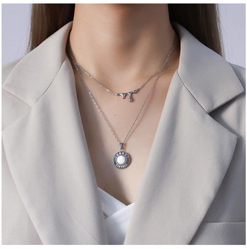 trendy light luxury water drop lava pendant titanium steel necklace NHOK271175