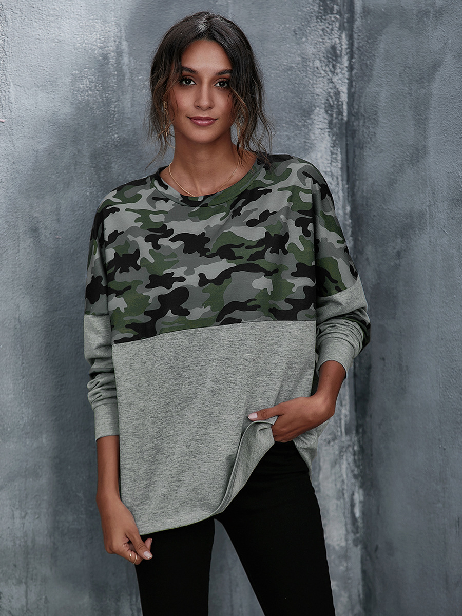 round neck long sleeve camouflage stitching casual loose top NSAL6717