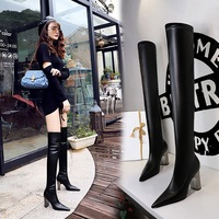 3128-16 European and American fashion wind metal with thick with sexy high-heeled tines nightclub show thin pedicure knee-high boots