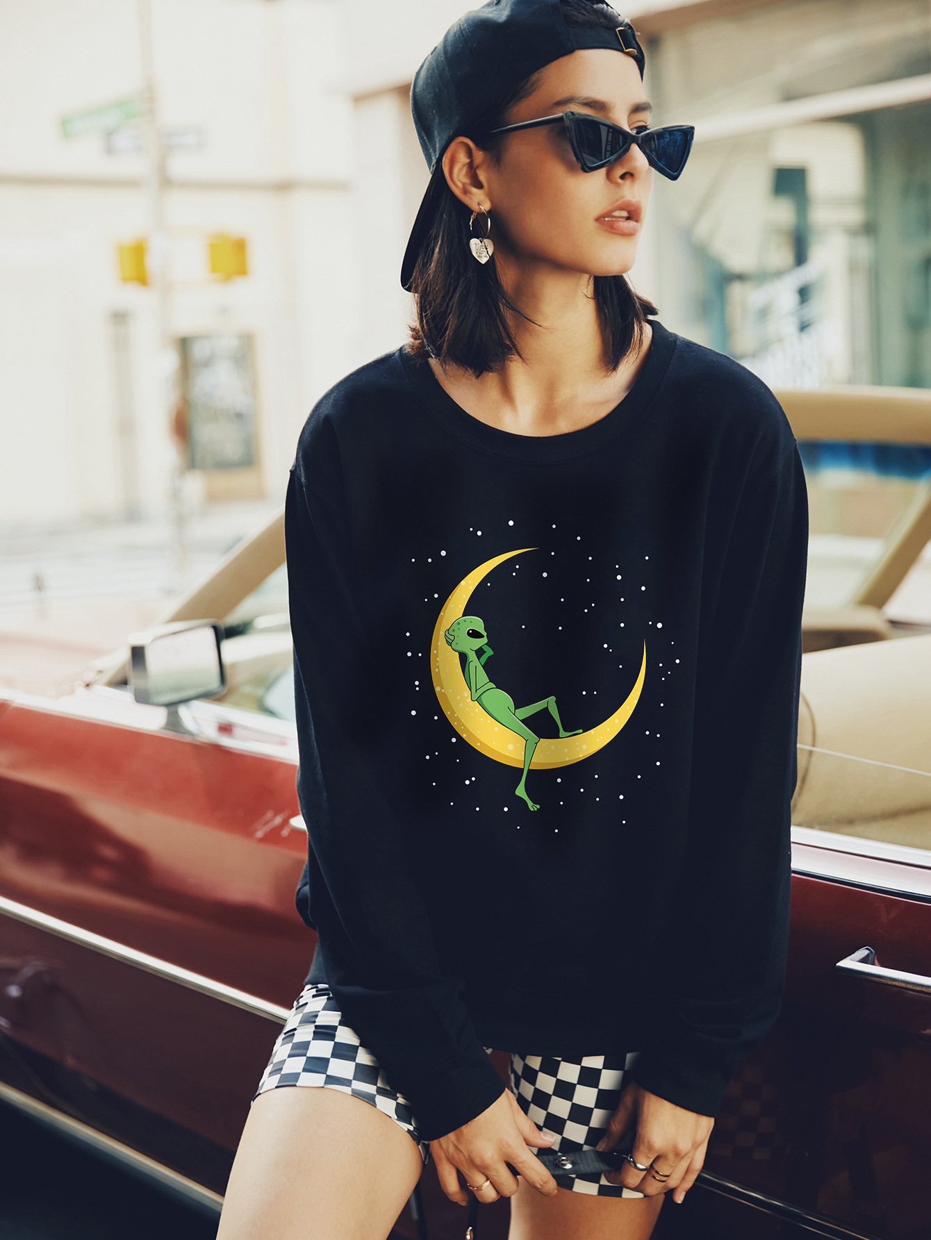 autumn and winter women's round neck long sleeve street casual hoodies NSSN1886