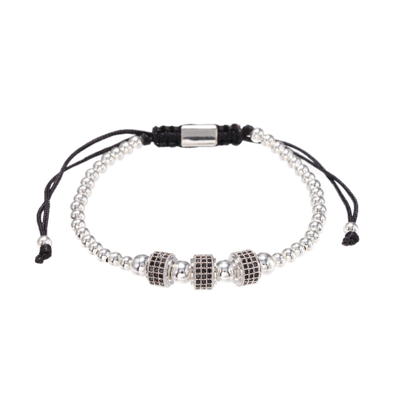 Fashion Copper Bead Woven Micro Inlaid Zircon Wheel Bracelet Wholesale Bracelets NHZU199404