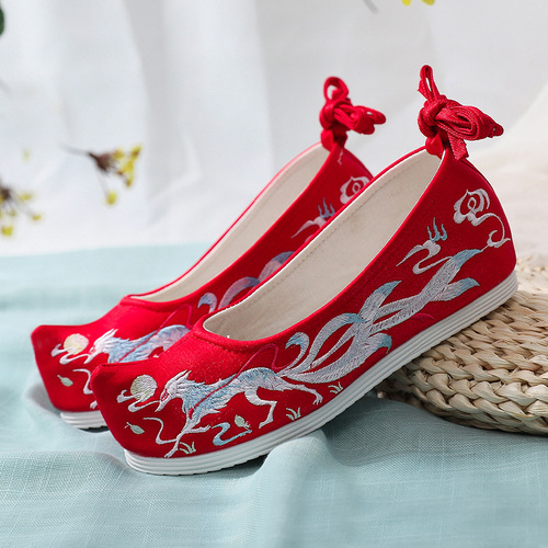 ancient chinese Hanfu shoes for women embroidered Hanfu clothing shoes cotton hemp embroidered shoes