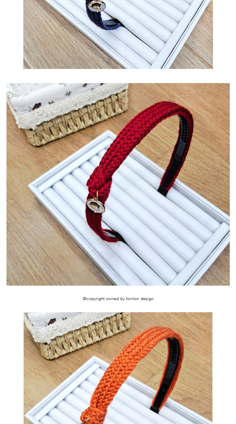 Banda para el cabello anudada de lana de color caramelo lindo de otoo e invierno NHUX267883