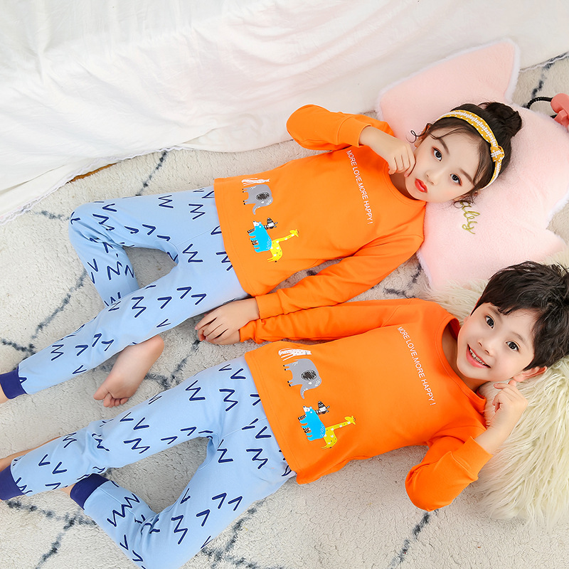Children's Wear Set Pure Cotton Boys And Girls Sweater Pajamas Baby Cartoon Clothes
