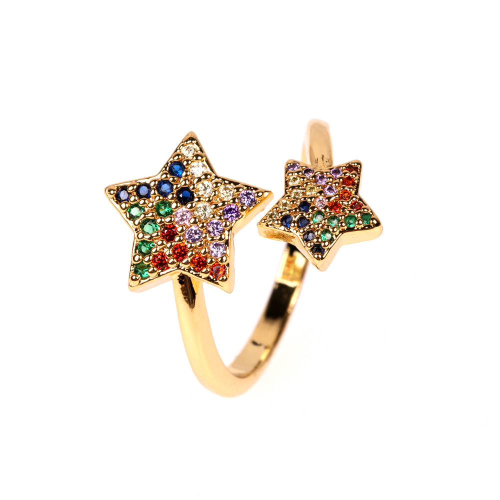 new accessories fashion personality ring microset color stars opening index finger ring wholesale nihaojewelry NHPY222320
