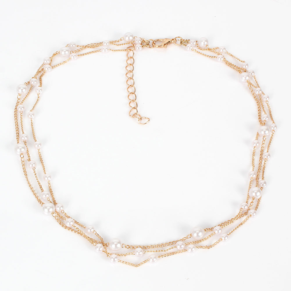 fashion creative simple jewelry clavicle chain wild pearl necklace wholesale nihaojewelry NHCT232285