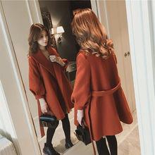 2020秋冬季韩版小个子加厚毛呢外套女宽松显瘦短款灯笼袖呢子大衣