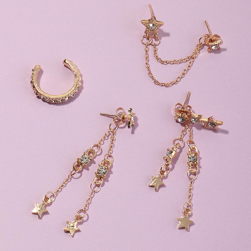jewelry fashion five-pointed star tassel super flash diamond earrings star earring ear clip NHNZ263158