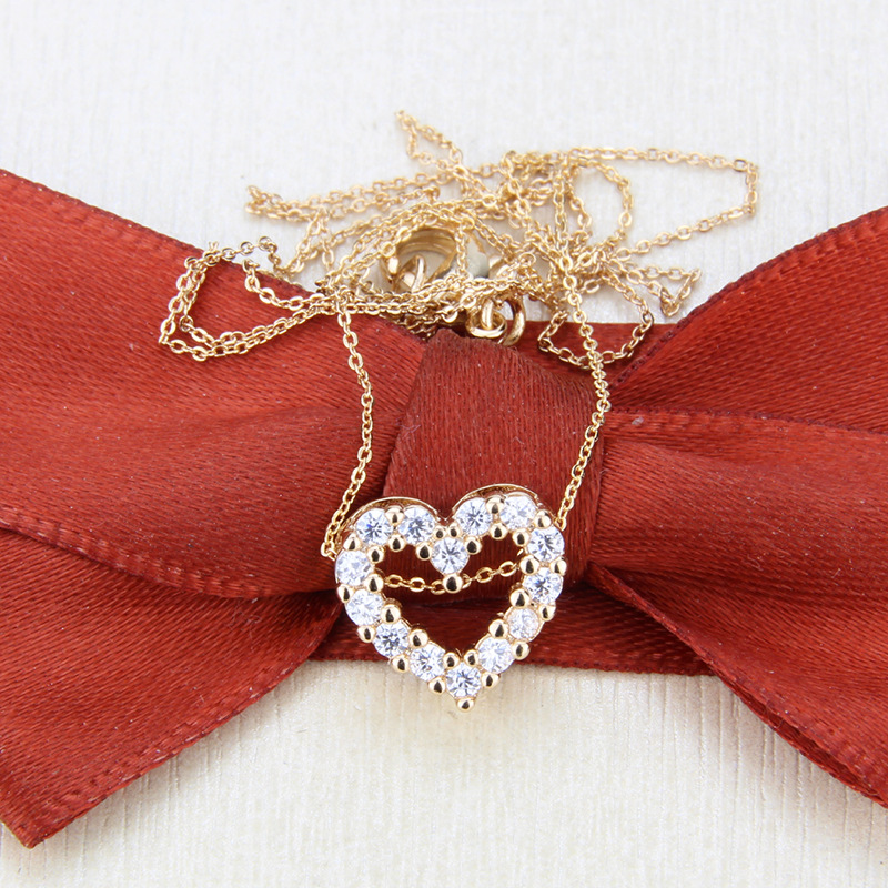 goldplated heartshaped colorful zircon necklace NHBP310497