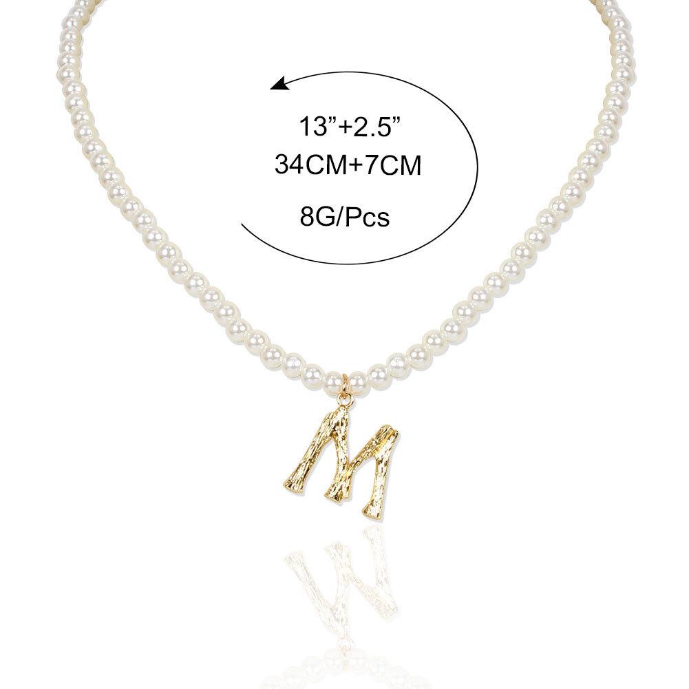 fashion shaped imitation pearl alloy letter M pendant necklace wholesale NHCT256130