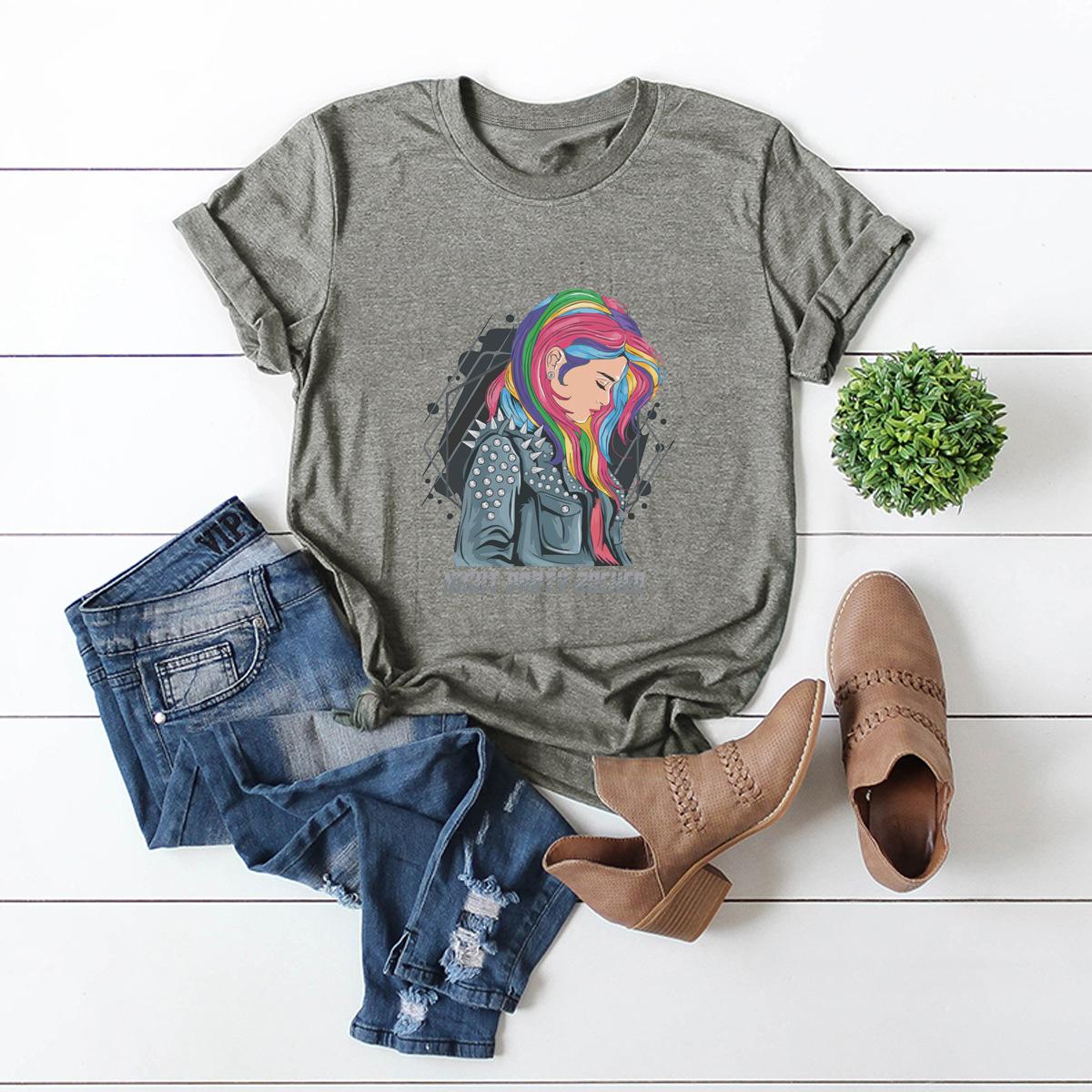 party rock print cotton short-sleeved t-shirt  NSSN3035