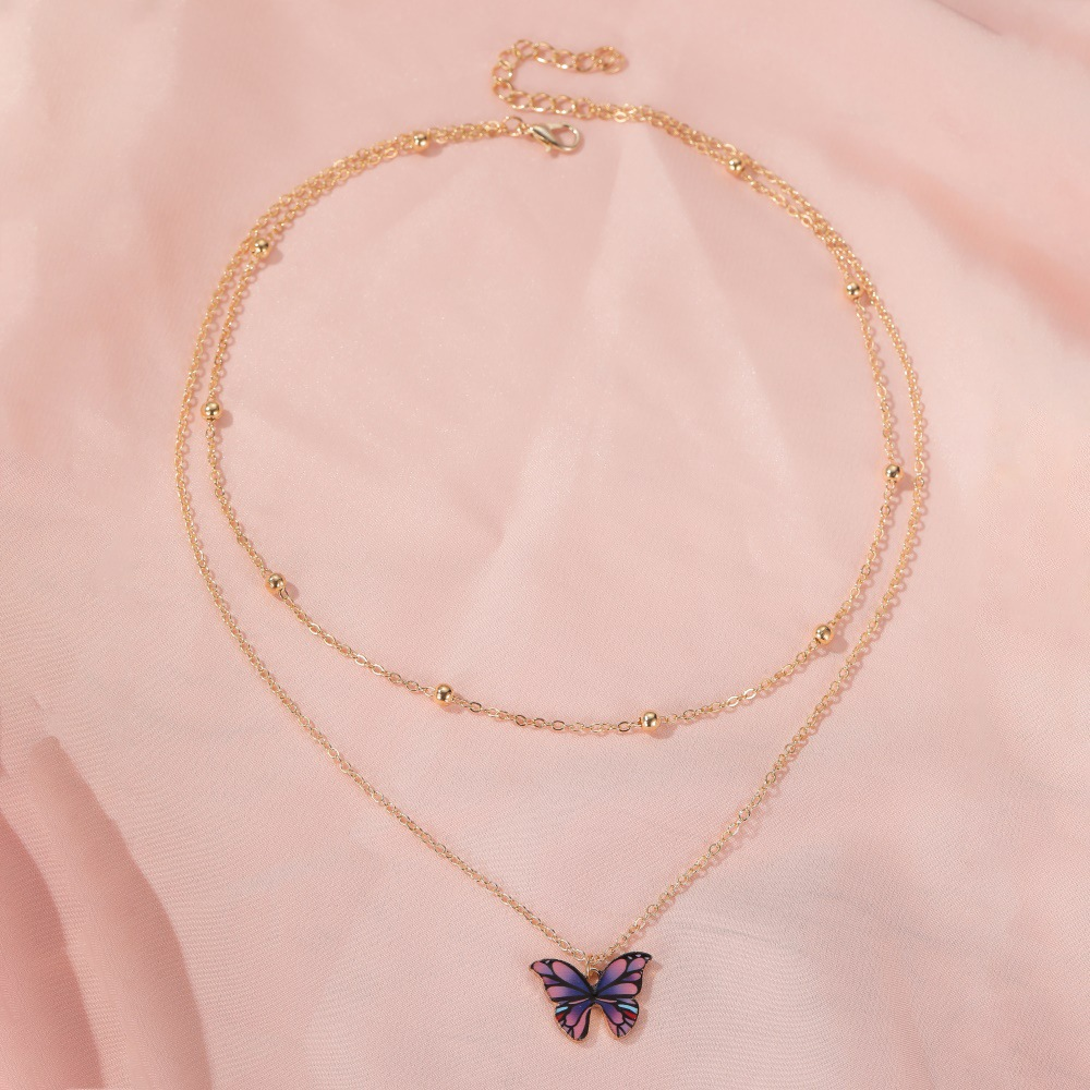 hot sale retro doublelayer bead butterfly necklace fantasy color butterfly clavicle chain women NHDP233641