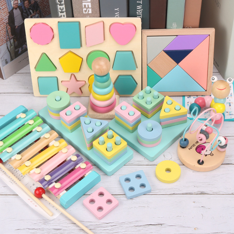 Early childhood education for children, infants and young children, puzzles, round beads, set of columns, geometric shapes matching building blocks, eight-tone xylophone toys Six-piece macarons [note message]