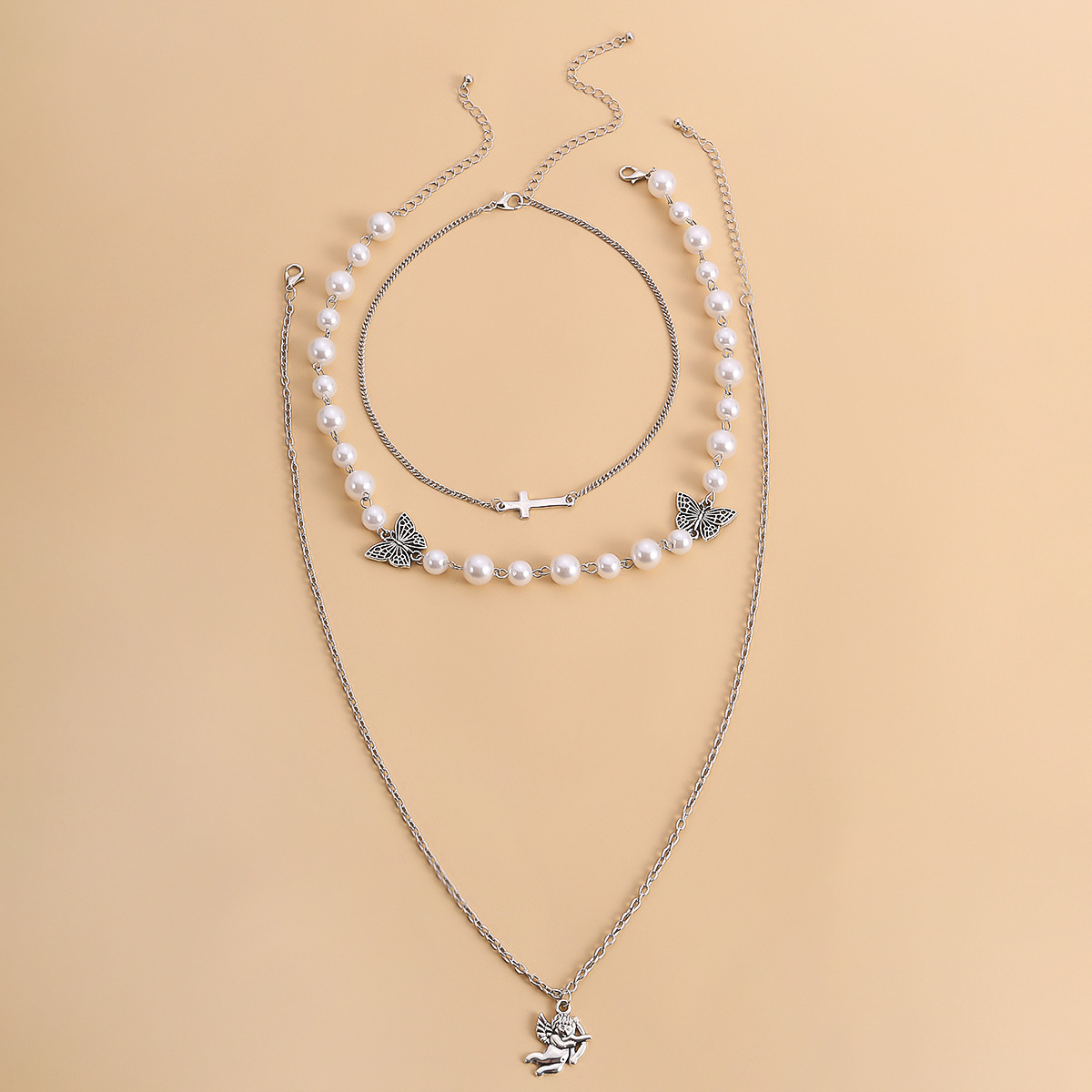 fashion  butterfly pendant clavicle necklace personalized simple pearl cross necklace NHXR252642