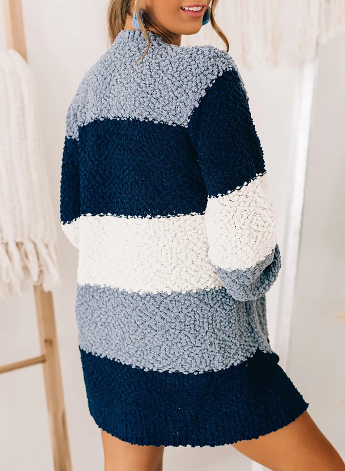 stripes hitting color mid-length casual ladies jacket  NSSI3001